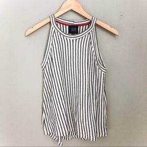 Cream and Blue Striped Sleeveless Top